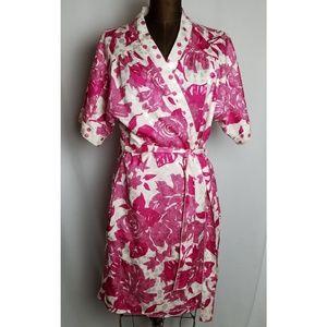 Vintage 1970s Miss Dior rose print satin robe M